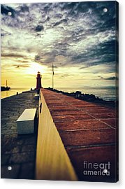 Acrylic Print featuring the photograph Lighthouse At Sunset by Silvia Ganora