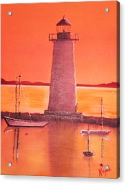 Acrylic Print featuring the painting Lighthouse by Barbara Hayes