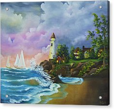 Lighthouse By The Village Acrylic Print
