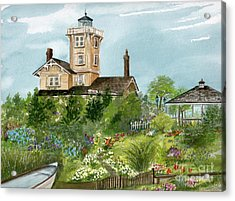Acrylic Print featuring the painting Lighthouse Gardens  by Nancy Patterson