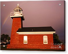 Lighthouse In A Rainbow Acrylic Print by Garnett  Jaeger