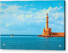 Lighthouse In Greece Acrylic Print
