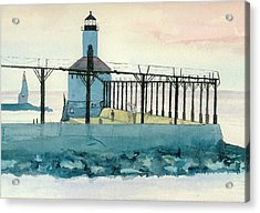 Acrylic Print featuring the painting Lighthouse In Michigan City by Lynn Babineau