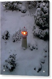 Acrylic Print featuring the photograph Lighthouse In The Snow by Kathryn Meyer