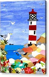 Lighthouse Acrylic Print by Judy Adamson