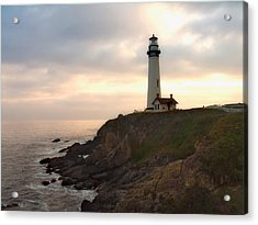 Lighthouse On The Cliff  Pigeon Point  California Acrylic Print by George Oze