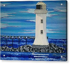 Acrylic Print featuring the painting Lighthouse On The Shannon by Carolyn Cable