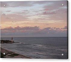 Lighthouse Peach Sunset Acrylic Print
