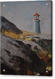 Lighthouse Peggys Cove Ns Acrylic Print by Chris  Riley