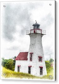 Lighthouse Prince Edward Island Watercolor Acrylic Print by Edward Fielding