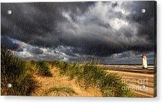 Lighthouse Rainbow Acrylic Print by Adrian Evans