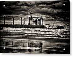 Lighthouse Reflections In Black And White Acrylic Print