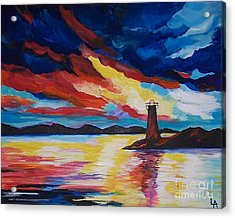 Acrylic Print featuring the painting Lighthouse Storm by Leslie Allen