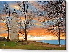 Lighthouse Sunset Acrylic Print by Cathy Leite Photography