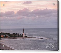 Lighthouse Sunset Peach And Lavender Acrylic Print