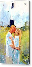 Acrylic Print featuring the painting Lighthouse Wedding by Gertrude Palmer