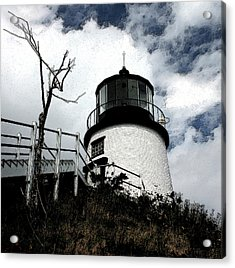 Lighthouse With Twist Acrylic Print by Dennis Curry