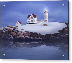 Lighting Of The Nubble Lighthouse Acrylic Print by James Charles