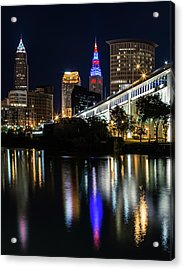 Acrylic Print featuring the photograph Lighting Up Cleveland by Dale Kincaid