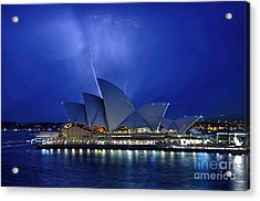 Lightning Above The Opera House Acrylic Print by Kaye Menner