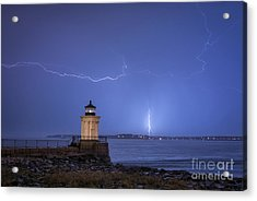 Lightning And The Lighthouse Acrylic Print