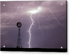 Lightning And Windmill -02 Acrylic Print by Rob Graham