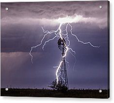 Lightning And Windmill Acrylic Print by Rob Graham