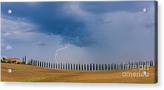 Lightning At Agriturismo Poggio Covili In The Tuscany Acrylic Print