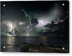 Lightning At The Bermuda Triangle Acrylic Print by Karl Alexander