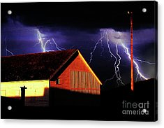 Lightning At The Old Ranch . 40d4577 Acrylic Print by Wingsdomain Art and Photography