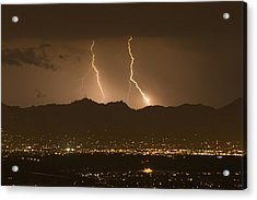 Lightning Bolt Strikes Out Of A Typical Acrylic Print by Mike Theiss