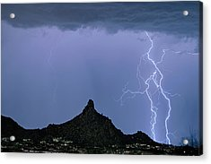 Acrylic Print featuring the photograph Lightning Bolts And Pinnacle Peak North Scottsdale Arizona by James BO Insogna