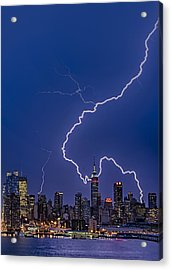 Lightning Bolts Over New York City Acrylic Print by Susan Candelario