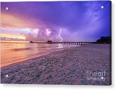 Acrylic Print featuring the photograph Lightning Naples Pier by Hans- Juergen Leschmann