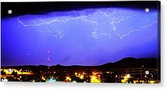 Lightning Over Loveland Colorado Foothills Panorama Acrylic Print by James BO  Insogna