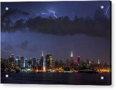 Lightning Over New York City I Acrylic Print by Clarence Holmes