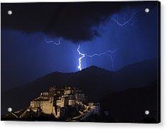 Acrylic Print featuring the photograph Lightning Over Potala Palace, Lhasa, 2007 by Hitendra SINKAR