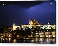 Acrylic Print featuring the photograph Lightning Over Prague Castle by Alex Lapidus