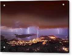 Lightning Over Water Island Acrylic Print