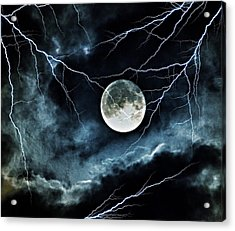 Lightning Sky At Full Moon Acrylic Print