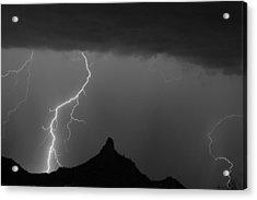 Lightning Storm At Pinnacle Peak Scottsdale Az Bw Acrylic Print