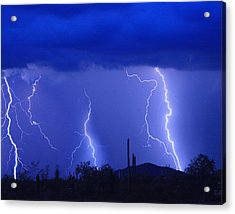Lightning Storm In The Desert Fine Art Photography Print Acrylic Print by James BO  Insogna