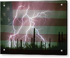 Lightning Storm In The Usa Desert Flag Background Acrylic Print by James BO  Insogna