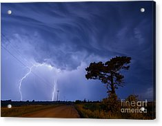 Lightning Storm On A Lonely Country Road Acrylic Print by Art Whitton