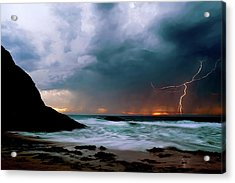 Lightning Strike Off Dana Point California Acrylic Print by Cliff Wassmann