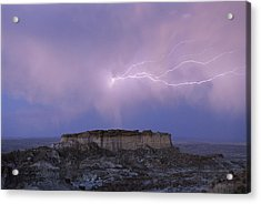 Lightning Strikes Above A Butte Acrylic Print by Joel Sartore