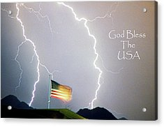Lightning Strikes God Bless The Usa Acrylic Print by James BO  Insogna