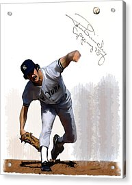 Lightning Strikes Ron Guidry Acrylic Print by Iconic Images Art Gallery David Pucciarelli