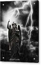 Lightning Strikes The Angel Gabriel Acrylic Print by Amanda Elwell