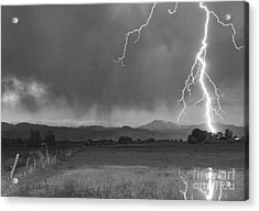 Lightning Striking Longs Peak Foothills 5bw Acrylic Print